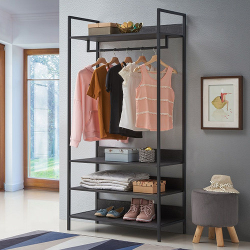 Zahra Large Open Wardrobe with 4 Shelves in Black