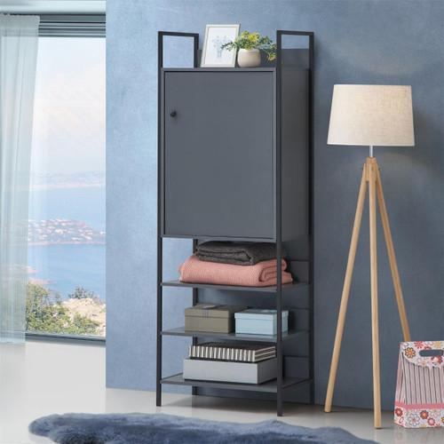 Zahra Storage Cabinet with 1 Door & 4 Shelves in Dark Grey