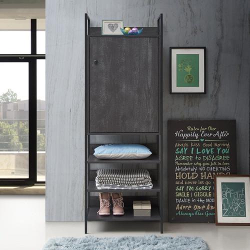 Zahra Storage Cabinet with 1 Door & 4 Shelves in Black