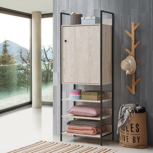 Zahra Storage Cabinet with 1 Door & 4 Shelves in Ash Oak