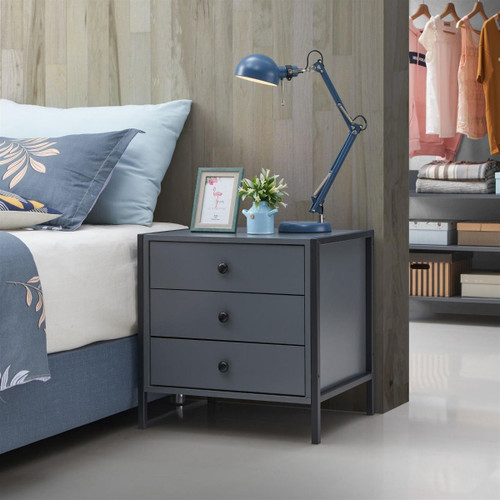 Zahra Nightstand with 3 Drawers in Dark Grey