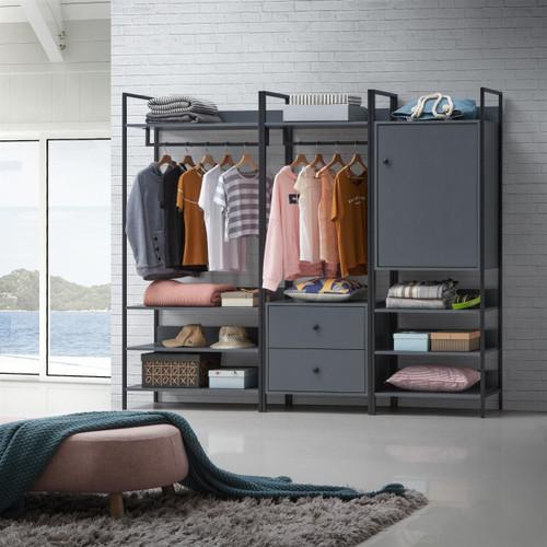 Zahra 3 Piece Bedroom Furniture Set in Dark Grey