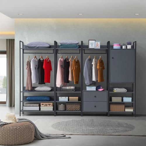 Zahra 4 Piece Bedroom Furniture Set in Dark Grey