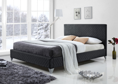 Brooklyn Bed in Charcoal Grey Fabric