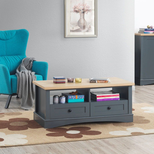 Carden Coffee Table with 2 Drawers in Grey