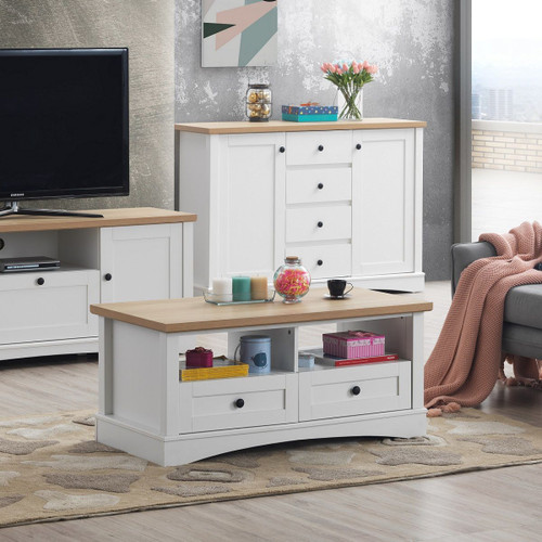 Carden Coffee Table with 2 Drawers in White