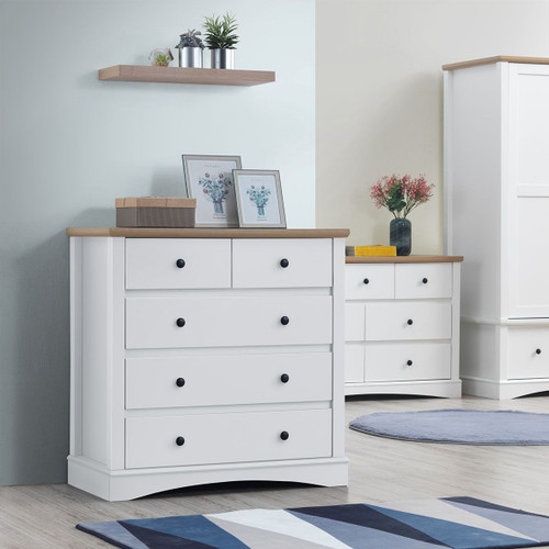 Carden 2+3 Drawer Chest in White