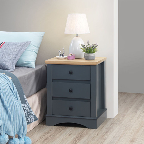Carden Nightstand with 3 Drawers in Grey
