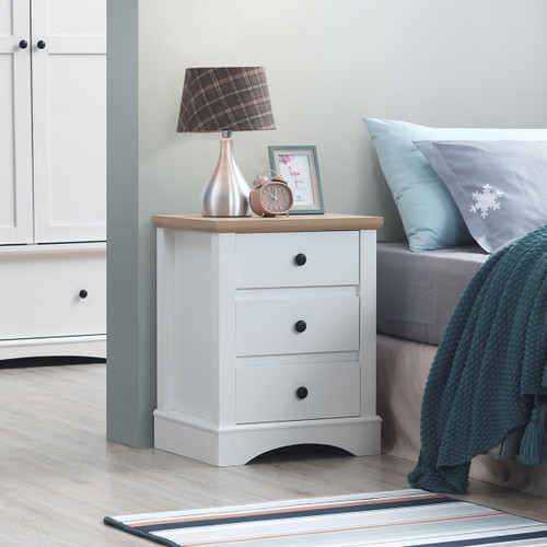 Carden Nightstand with 3 Drawers in White