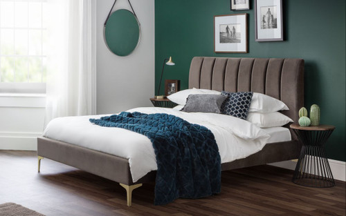 Deco Scalloped Velvet Bed