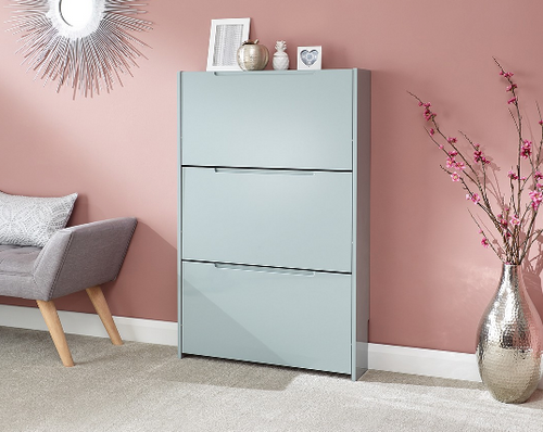 Narrow Grey High Gloss 3 Tier Shoe Cabinet
