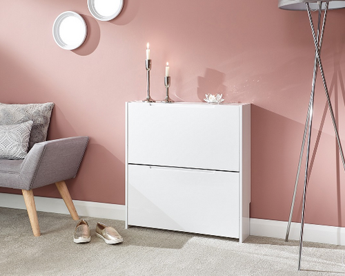 Narrow White High Gloss 2 Tier Shoe Cabinet