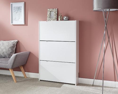 Narrow White High Gloss 3 Tier Shoe Cabinet