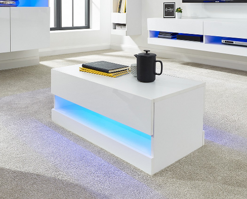Galicia White Light-up Coffee Table
