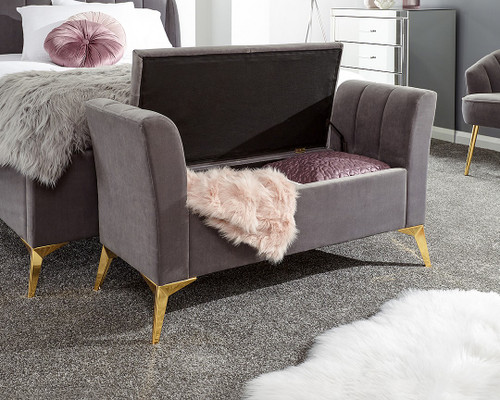 Pettine Grey Velvet Ottoman Storage Bench