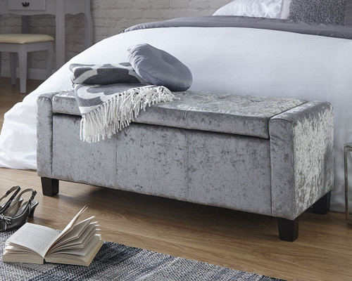 Verona Grey Crushed Velvet Ottoman Bench