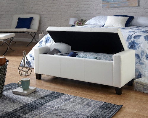Verona White Faux Leather Ottoman Bench