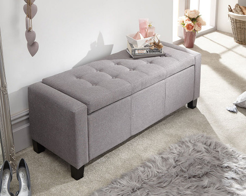 Verona Grey Fabric Ottoman Bench