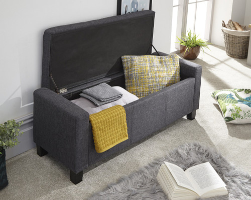 Verona Charcoal Grey Fabric Ottoman Bench