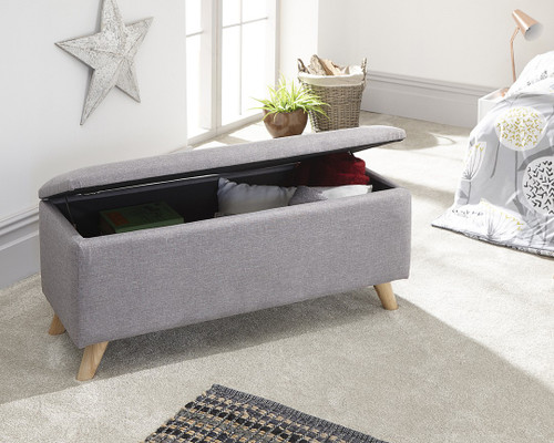 Secreto Grey Fabric Ottoman Bench
