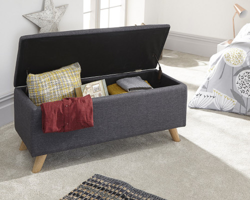 Secreto Charcoal Grey Fabric Ottoman Bench