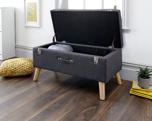 Minstrel Charcoal Grey Fabric Ottoman Storage Bench