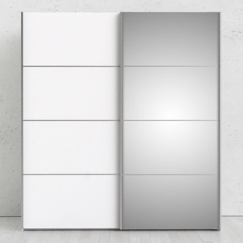 Verona White Sliding Wardrobe with Mirror Door