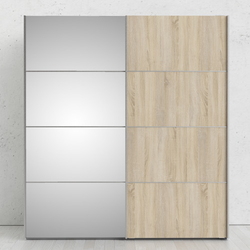 Verona White & Oak Effect Sliding Wardrobe with Mirror Door (180cm)