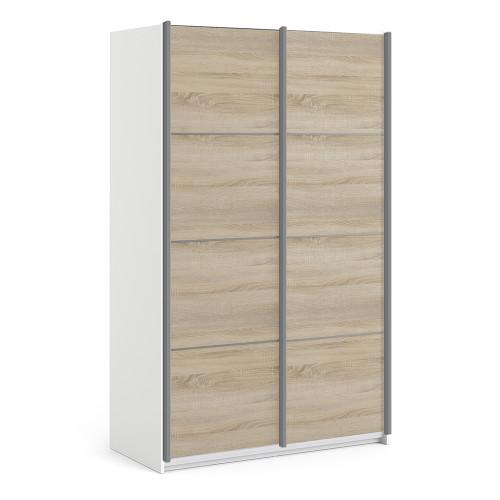 Verona White & Oak Effect Sliding Wardrobe (120cm)