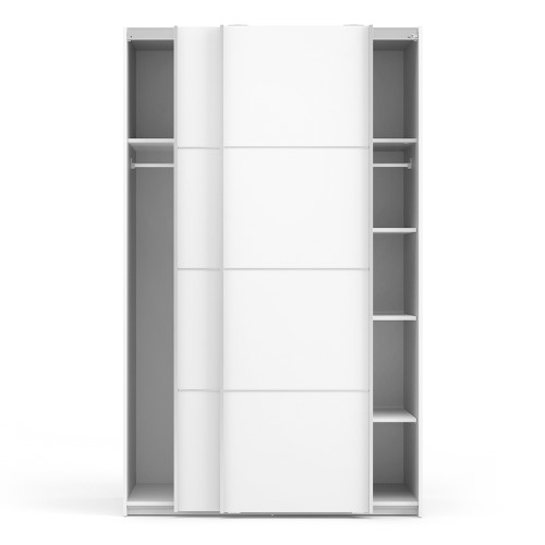 Verona White Sliding Wardrobe with 5 Shelves (120cm)