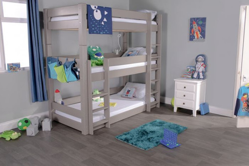 Scandinavian Triple Bunk Bed in Grey