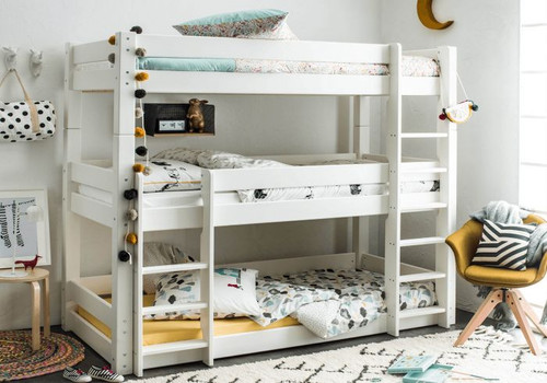 Scandinavian Triple Bunk Bed in White