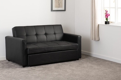 Astoria Black Faux Leather Sofa Bed