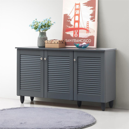 Essentials Grey 3 Door Shoe Cabinet