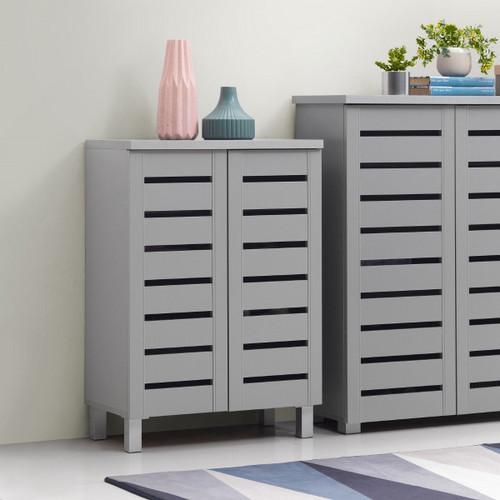 Scandi Light Grey 2 Door Shoe Cabinet