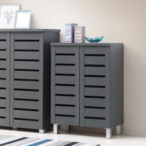 Scandi Dark Grey 2 Door Shoe Cabinet