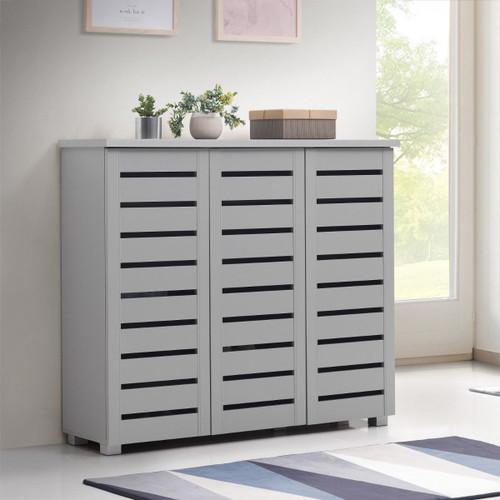 Scandi Light Grey 3 Door Shoe Cabinet