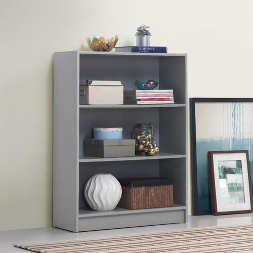 Essentials Light Grey Low Wide Bookcase