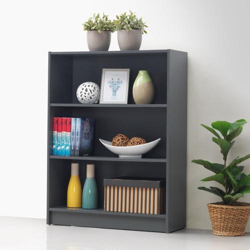 Essentials Dark Grey Low Wide Bookcase