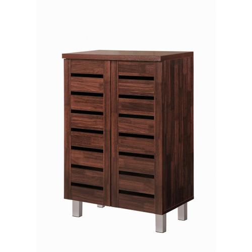 Scandi Dark Wood 2 Door Shoe Cabinet
