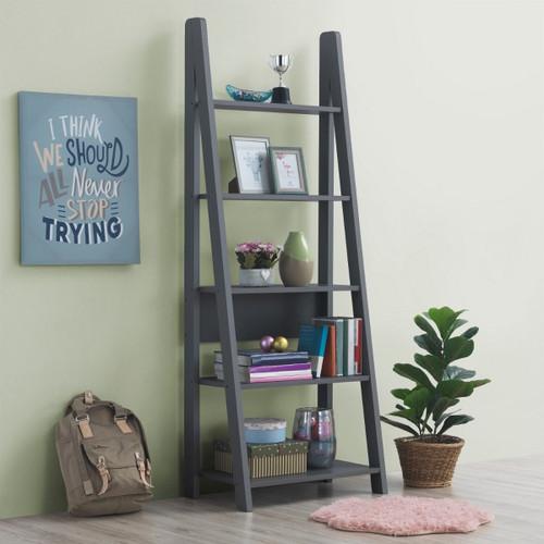 Riva Dark Grey Ladder Bookcase