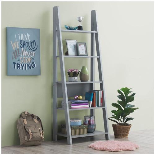 Riva Light Grey Ladder Bookcase
