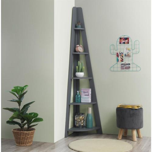 Riva Dark Grey Corner Ladder Bookcase