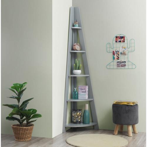 Riva Light Grey Corner Ladder Bookcase
