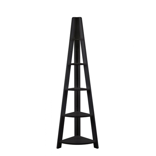 Riva Black Corner Ladder Bookcase