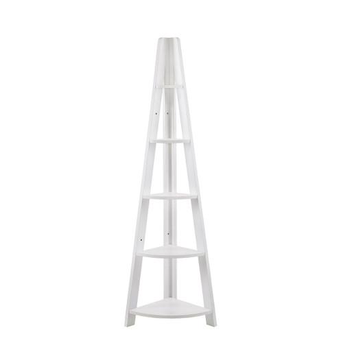 Riva White Corner Ladder Bookcase