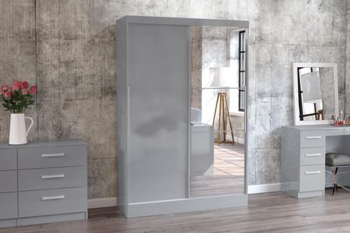 Lynx Grey 2 Door Sliding Wardrobe with Mirror
