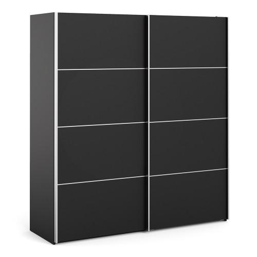 Verona 180cm Sliding Wardrobe with 5 Shelves in Black
