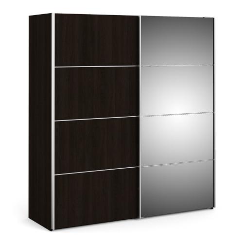 Verona 180cm Sliding Mirror Wardrobe with 5 Shelves in Black