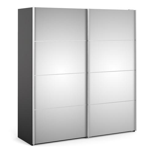 Verona 180cm Sliding Mirrored Wardrobe with 5 Shelves in Black